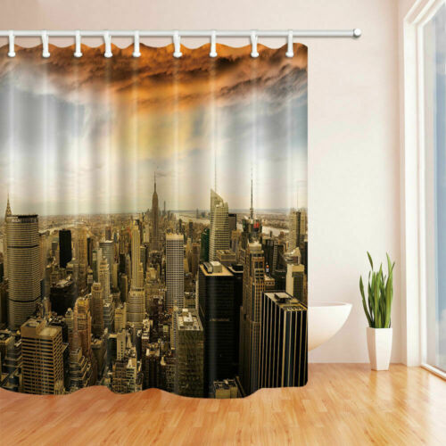 New York Scenery Bathroom Waterproof  Fabric Shower Curtain Liner Bath Mat Set
