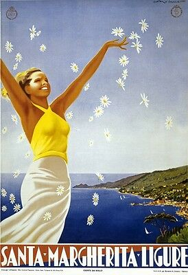 T7 Vintage 1950's Italy Liguria Santa Margherita Travel Poster A1/A2/A3/A4