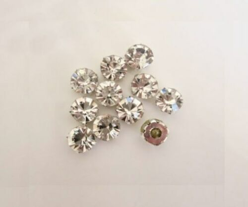 50Pieces Flatback Sew On Rhinestones 7mm Crystal Clear