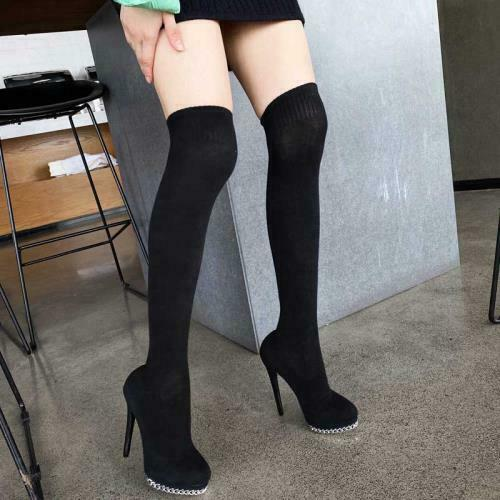Details about  /Women/'s Slim Stilettos Heel Over The Knee High Stretchy Boots Clubwear 34//42 D
