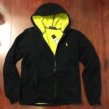 NEW POLO RALPH LAUREN BONDED FLEECE JACKET POLO BLACK YELLOW MEN SIZE SMALL S