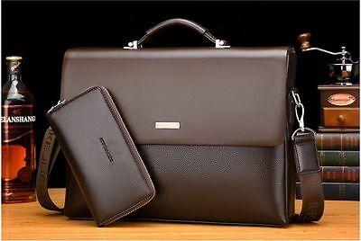 New Business Mens Leather Briefcase Bag Handbag Laptop Shoulder Bag
