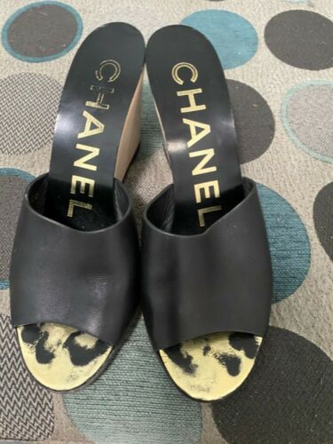 Classic Chanel CC Wooden Wedges Slide Black Leathe