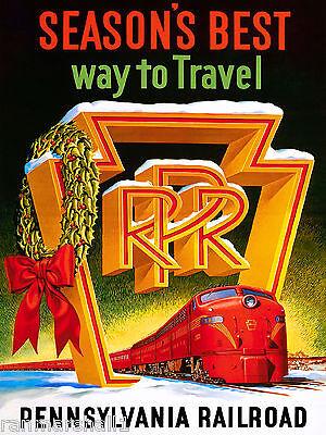 1930s Season's Best Pennsylvania Vintage Railroad Travel Advertisement Poster