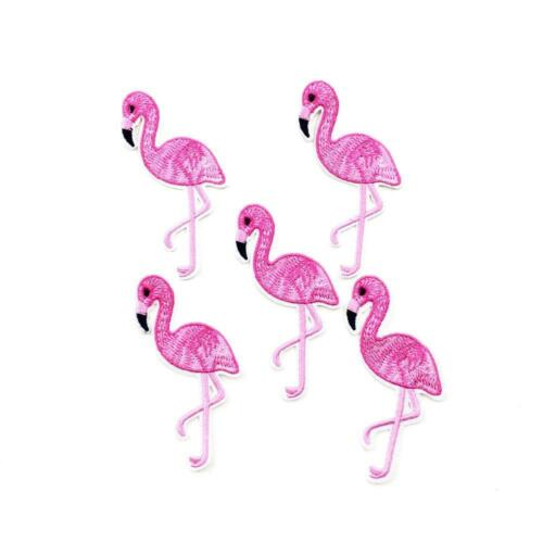 IRON ON EMBROIDERED APPLIQUE PINK FLAMINGO...........A060