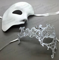 His & Her Couple Masquerade Mask, White Themed Phantom Mask [clear Rhinestones]