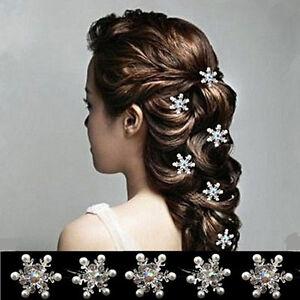 5PCS-Lovely-Wedding-Bridal-Crystal-Rhinestone-Pearl-Snowflake-Flower-Hair-Pin