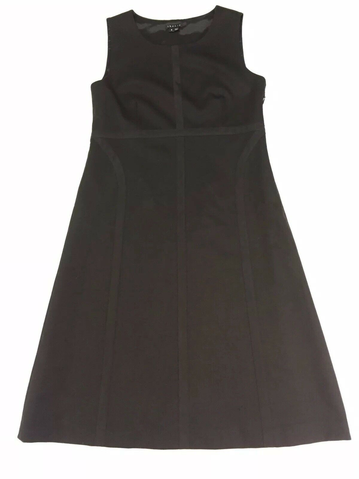 Theory Wool Shift Stretch Dress Größe 8 damen's schwarz Sleeveless Midi