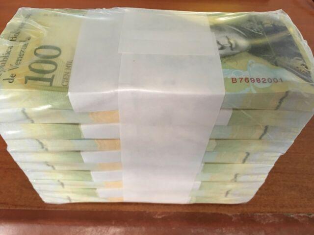 Venezuela 100000 (100,000) Bolivares X 100 Pcs, Bundle UNC 2017 New Money Note