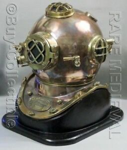 "Maritime Official Website Helmet Morse Us Navy Mark V Diving Helmet Copper & Brass W/base 18"" Gift"