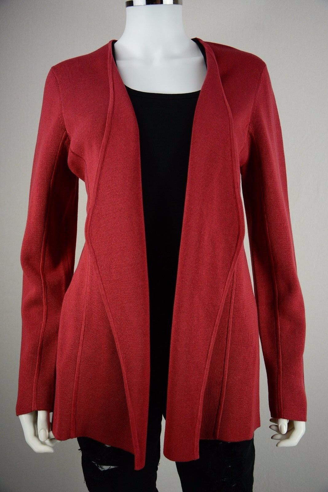 Women's Eileen Fisher Petites size Large PL Red Open Silk Shawl Sweater NWT