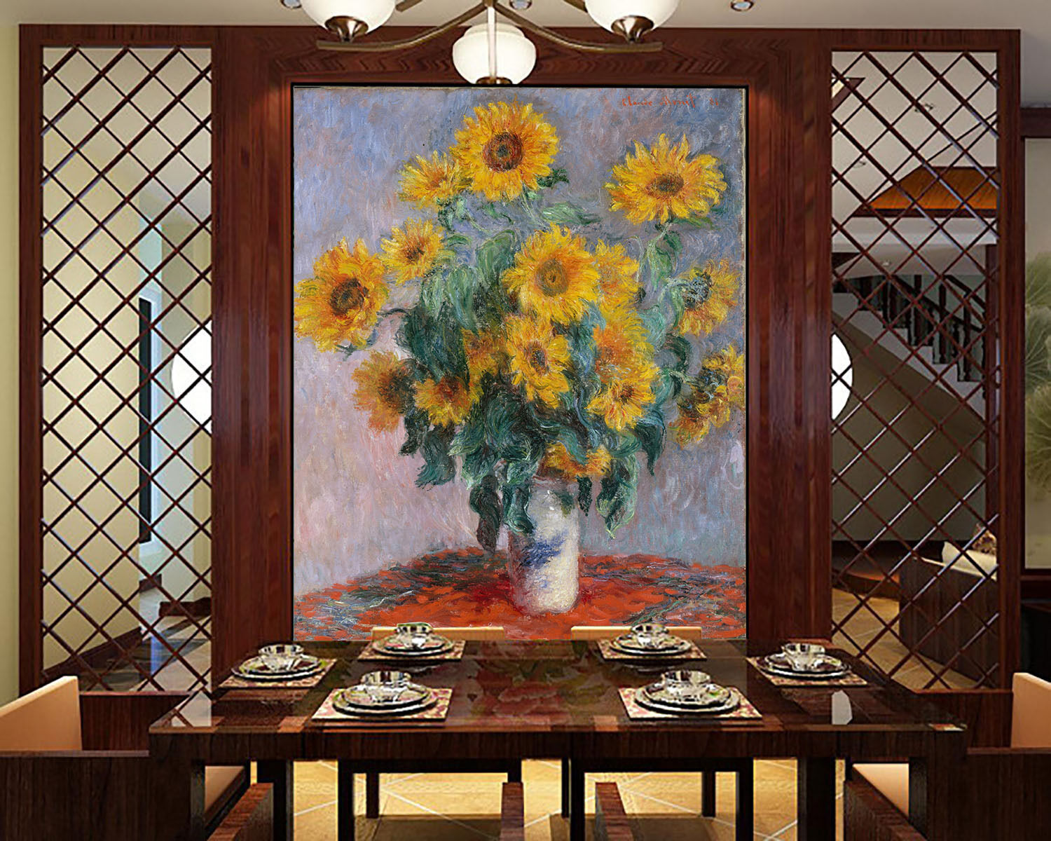 3D Painted Flowers Sunflowers 8 Wall Paper Wall Print Decal Wall AJ WALLPAPER CA