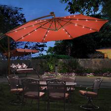 10u0027 Hanging Solar LED Umbrella Patio Sun Shade Offset Market W/Base Burgundy