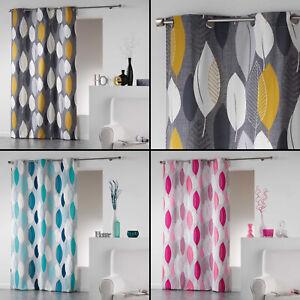 Leafy-Cotton-Single-Eyelet-Curtain-Panel-Long-Drop-Ochre-Yellow-Grey-Pink-Blue