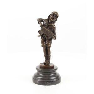 9973838-ds Bronzo Scultura Figura Bambino Lazzarone Mendicante Musica 10x10x25cm