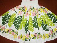 White Floral Hawaiian Hula Pau Pa'u Skirt 28 Long Made In Hawaii