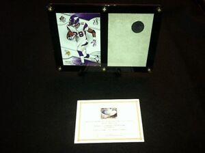 Adrian-Peterson-Card-Display-amp-Game-Used-Metrodome-Roof-Piece-Minnesota-Vikings