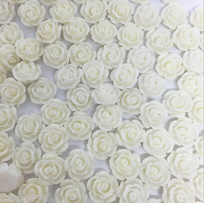 100 x WHITE 10mm Resin Rose Craft Cabochons Embellishments, Flatbacks, Toppers