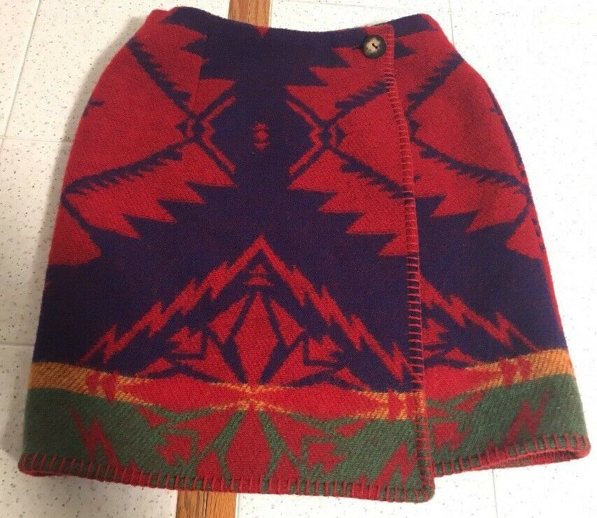 VTG RALPH LAUREN Country Native Indian Blanket Wool Wrap Short Skirt Women's 4