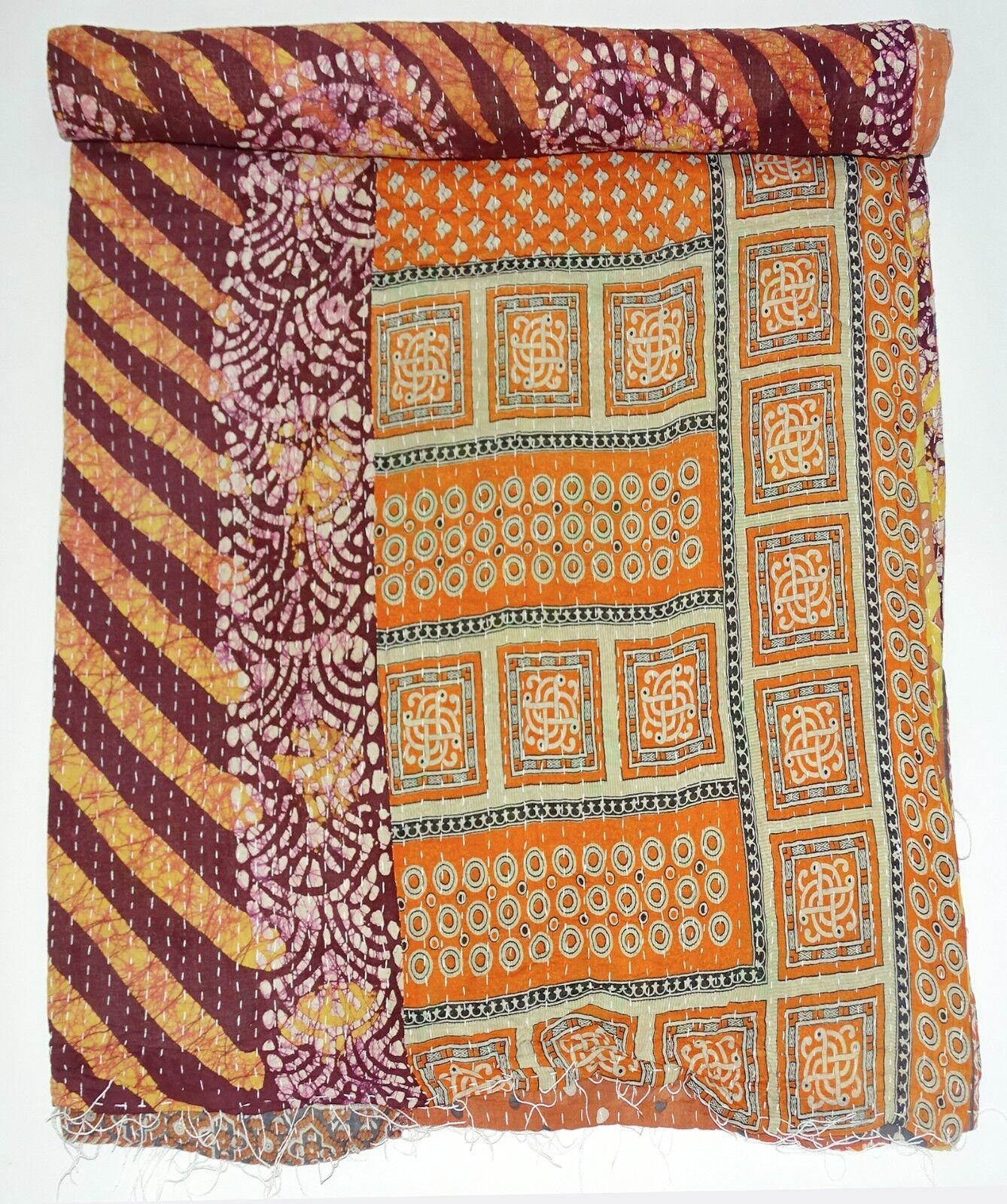 Indian Vintage Kantha Quilt Bedspread Reversible Handmade Cotton Throw Bedsheet