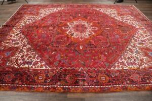 10-039-x13-039-Geometric-Heriz-Oriental-Area-Rug-Wool-Hand-Knotted-Medallion-Carpet