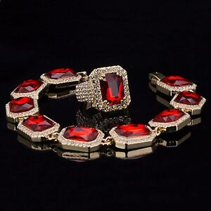 crystal crystals products bracelets beaded ruby simulated swarovski silver birthstone solid bracelet sterling in july red