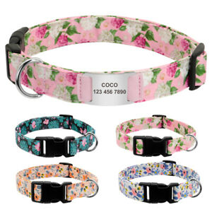 Floral-Nylon-Pet-Dog-Collars-and-Silde-On-Tag-Engraved-Personalised-Quick-Fit