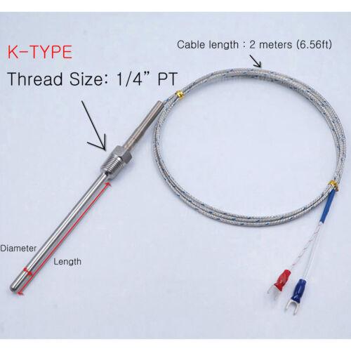 Termopar Tipo K Sonda de Temperatura Sensor D 6.4Ø PT1//4 Cable 2 M 6.56 ft approx. 2.00 m