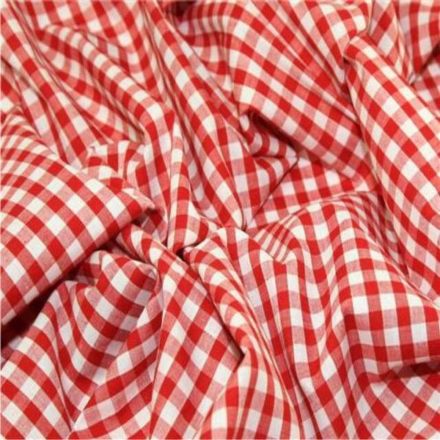 "RED 1/4"" Gingham Check poly cotton material sold by the metre 115cm"