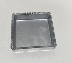 Mariposa Aluminum Square Bowl Candy Nut Dish Napkin Tray Mexico Beaded Edge