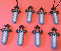 Minecraft Inspired Birthday Diamond Sword Party Favors Lot Of 8 Necklaces Beads
