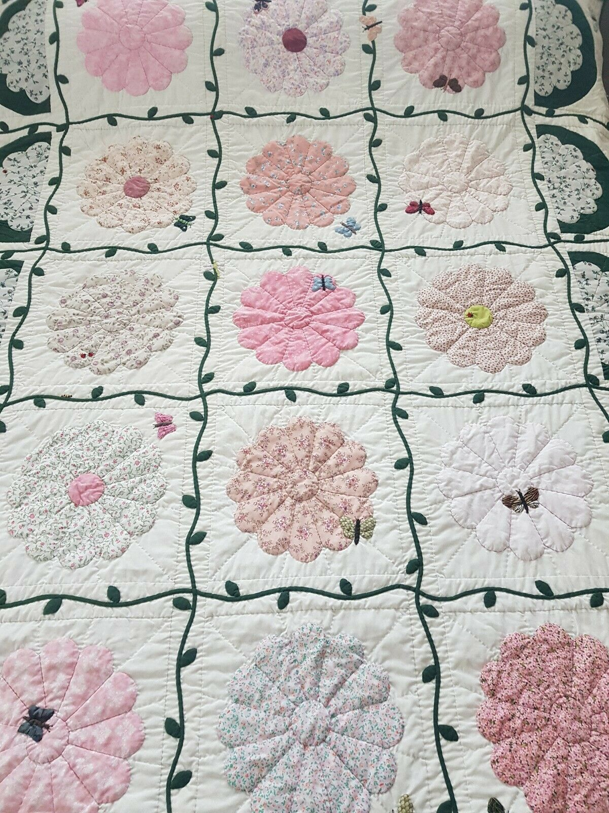 Vintage style embroiderot flower handmade patchwork cotton throw bedspread