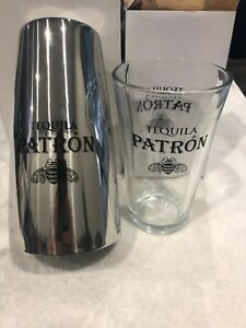 Patron-Tequila-Bar-Pint-Glass-and-Stainless-Steel-Boston-Shaker-Brand-New-Nice