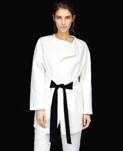 Jacquard Nwt Blend Belt Blazer Large Cotton Ivory Zara Sash Jacket Long Textured qTUStW1T