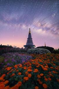 The-Milky-Way-and-Garden-with-Buddha-Relics-Photo-Art-Print-Poster-24x36-inch