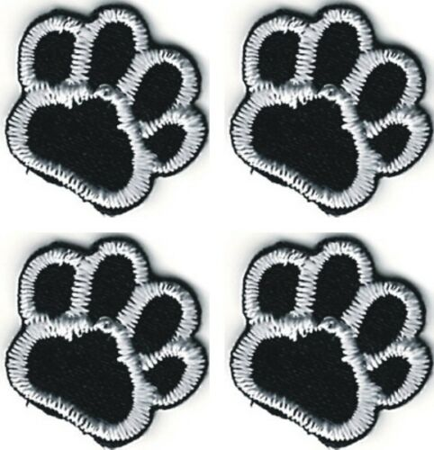 1.6cm fünf Achtel Zoll Los von 4 schwarz weiß Hund Tier pfotenmuster Patch