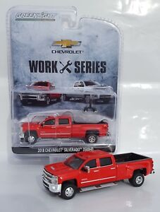 1-64-GreenLight-RED-2018-Chevrolet-Silverado-3500-HD-DURAMAX-DUALLY-Pickup-NIP