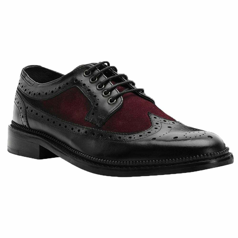 Goodwin Smith Mens Pendle Burgundy Black Derby Brogue shoes