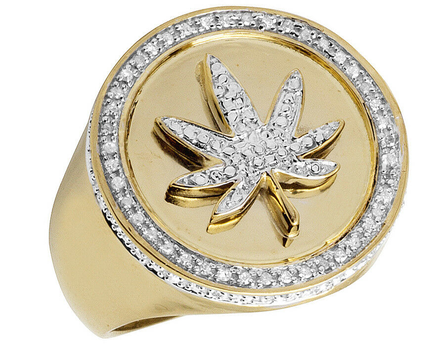 Men's Yellow gold Finish 3D Real Diamond Pave Maple Leaf Pinky Ring .33ct 22MM