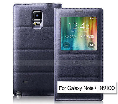 New Leather Smart Flip S-VIEW Cover for Samsung Galaxy Note 4 Case