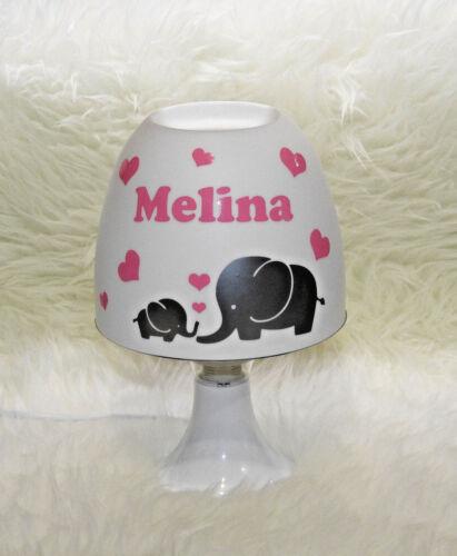 mit Wunschname rosa Elefant Baby Kinderlampe Tischleuchte