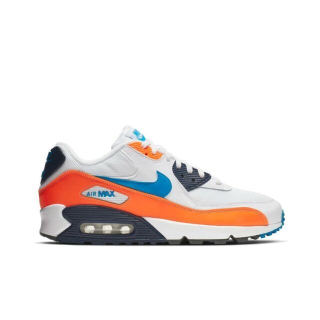 Nike Air Max 90 Essential (WhitePhoto Blue Total Orange) Men Shoes AJ1285 104