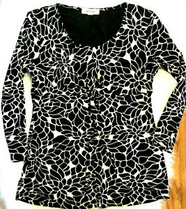 MERONA Womens long sleeve blouse Casual Lined Black & white print top tagged M