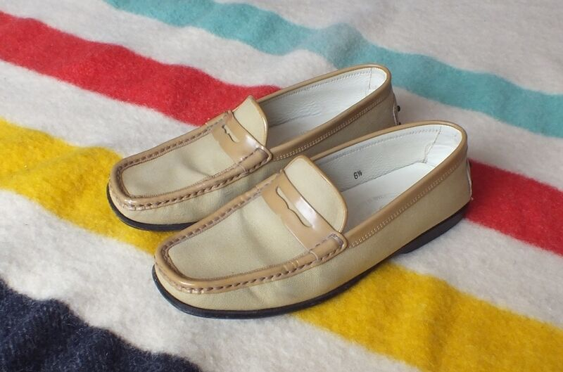 TOD'S Loafers Canvas & Patent Leder SZ 6.5 M Good Cond Driving Moc Style Rare