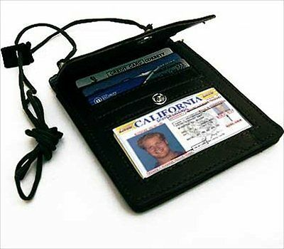 BLACK LEATHER PASSPORT ID Holder Pouch Wallet Organizer Flap Credit Card ID NWT