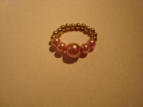 Pinky Anneau couleurs vives petite Verre Perles /& Gold Toe Ring mignon pour l/'été!