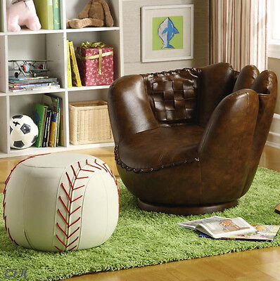 GAMEDAY BROWN BYCAST LEATHER BASEBALL GLOVE YOUTH ACCENT CHAIR & WHITE OTTOMAN