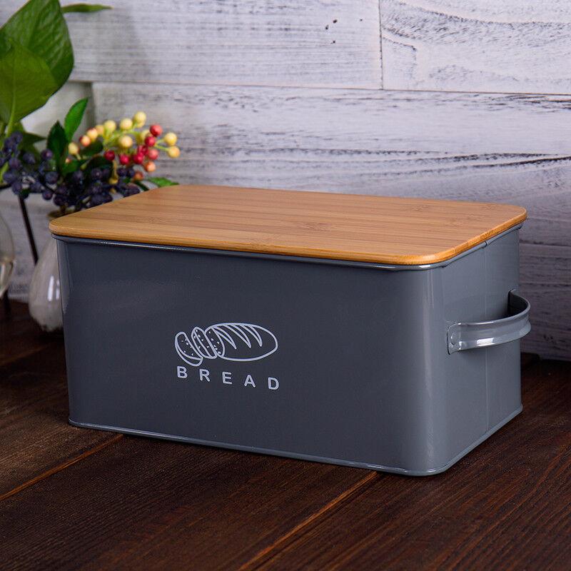 Grey Storage Box Large Cake Bread Box Bin Bamboo Lid Food Container Keeper Retro