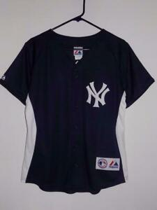the latest 782dc 643fd Details about New York Yankees jersey Majestic $80 women's large replica  button down navy NWT