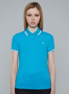 Fred-Perry-para-Mujer-Camisa-Polo-clasico-Cian-Talla-8-Reino-Unido-PEQUENO-S